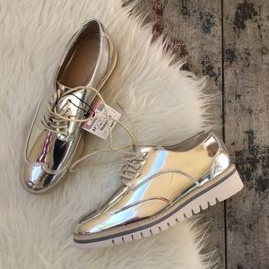 ZARA METALLIC OXFORD SHOES SZ 6.5 Women's NWT